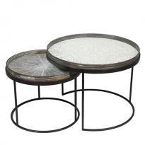 SET DE 2 TABLES BASSES ROUND, H.31/38 d'ETHNICRAFT ACCESSORIES