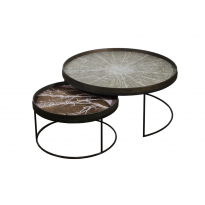 SET DE 2 TABLES BASSES ROUND EXTRA LARGE, H.31/38 d'ETHNICRAFT ACCESSORIES