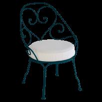 FAUTEUIL CABRIOLET 1900, Coussin blanc grisé, Bleu acapulco de FERMOB