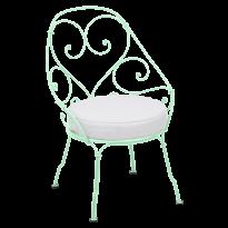 FAUTEUIL CABRIOLET 1900, coussin Blanc grisé, Vert opaline de FERMOB