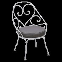 FAUTEUIL CABRIOLET 1900, coussin Gris graphite, Blanc coton de FERMOB