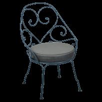 FAUTEUIL CABRIOLET 1900, coussin Gris graphite, Bleu acapulco de FERMOB