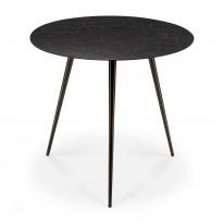 TABLE BASSE LUNA, Ø50 x H.45 cm, Lave Noir d