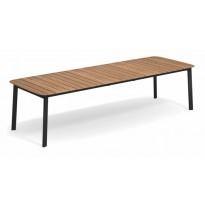 TABLE EXTENSIBLE SHINE, Plateau Teck/ Piétement noir, de EMU