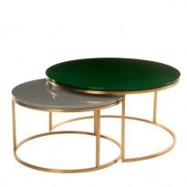TABLES BASSES GIGOGNES GLOSSY, Vert foncé et gris de POLS POTTEN