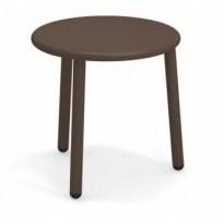 TABLE BASSE EN ALUMINIUM YARD, Ø50 cm, Marron d