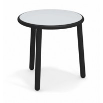 TABLE BASSE EN ALUMINIUM YARD, Ø 50 cm, Noir / Acier inox de EMU