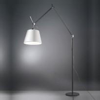 LAMPADAIRE TOLOMEO MEGA, Corps noir, Diffuseur satin gris  Ø 36 cm dimmable de ARTEMIDE