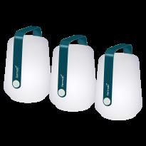 LOT DE 3 LAMPES H.12 CM BALAD, Bleu acapulco de FERMOB
