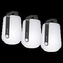 LOT DE 3 LAMPES H.12 CM BALAD, Carbone de FERMOB