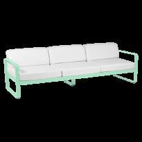 Canapé 3 places BELLEVIE de Fermob, Coussin Blanc grisé, Vert opaline