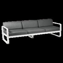 Canapé 3 places BELLEVIE de Fermob, coussin gris graphite, Blanc coton