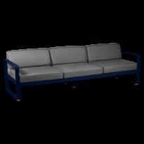 Canapé 3 places BELLEVIE de Fermob, coussin gris graphite, Bleu abysse