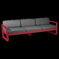 Canapé 3 places BELLEVIE de Fermob, coussin gris graphite, Coquelicot