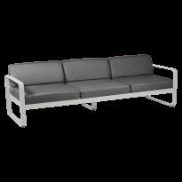 Canapé 3 places BELLEVIE de Fermob, coussin gris graphite, Gris métal