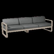 Canapé 3 places BELLEVIE de Fermob, coussin gris graphite, Muscade