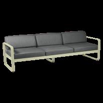 Canapé 3 places BELLEVIE de Fermob, coussin gris graphite, Tilleul