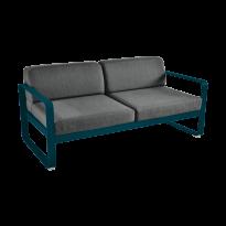 Canapé BELLEVIE de Fermob, coussin gris graphite, Bleu acapulco