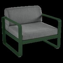 Fauteuil BELLEVIE de Fermob, coussin gris graphite, Vert cèdre