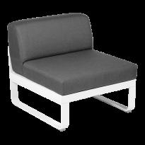 Module central BELLEVIE de Fermob, 1 place, Blanc coton, coussin gris graphite