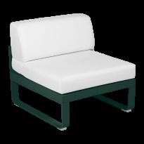 Module central BELLEVIE de Fermob, 1 place, Vert cèdre, Coussin Blanc grisé