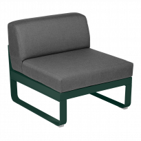 Module central BELLEVIE de Fermob, 1 place, Vert cèdre, coussin gris graphite