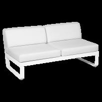 Module central BELLEVIE de Fermob, 2 places, Blanc coton, Coussin Blanc grisé