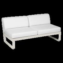 Module central BELLEVIE de Fermob, 2 places, Gris argile, Coussin Blanc grisé