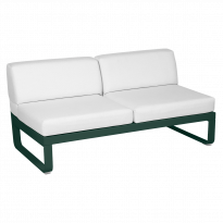 Module central BELLEVIE de Fermob, 2 places, Vert cèdre, Coussin Blanc grisé