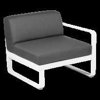 MODULE DROIT BELLEVIE, 1 place, Blanc coton, coussin gris graphite de FERMOB