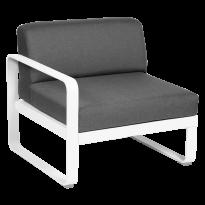 MODULE GAUCHE BELLEVIE, 1 place, Blanc coton, coussin gris graphite de FERMOB