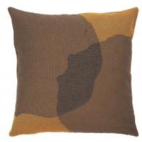 COUSSIN OVERLAPPING DOTS, 50 x 50 cm, Marron et moutarde d