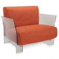 FAUTEUIL POP OUTDOOR, Structure transparente, Tissu Ikon orange de KARTELL