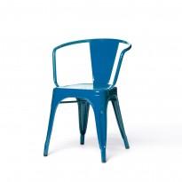 Fauteuil A56 de Tolix acier laqué, Bleu océan