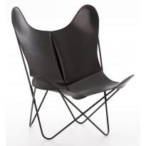 FAUTEUIL AA, Structure acier thermolaqué noir, Cuir classique, Noir de AIRBORNE