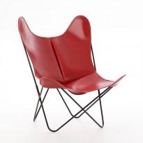 FAUTEUIL AA, Structure acier thermolaqué noir, Cuir classique, Rouge de AIRBORNE
