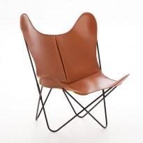 FAUTEUIL AA, Structure acier thermolaqué noir en cuir, 3 coloris de AIRBORNE