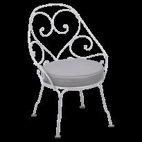 FAUTEUIL CABRIOLET 1900, coussin Gris flanelle, Blanc coton de FERMOB