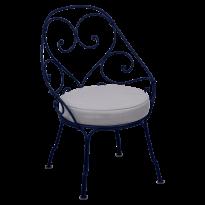 FAUTEUIL CABRIOLET 1900, coussin Gris flanelle, Bleu abysse de FERMOB