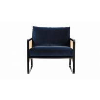 FAUTEUIL CANNAGE, Bois teinté noir, Bleu marine de RED EDITION