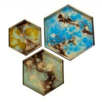 PLATEAU HEXAGONAL ORGANIC MINI, 3 tailles, 3 couleurs d