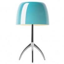 LAMPE A POSER  LUMIERE GRANDE AVEC VARIATEUR, Pied Aluminium, Diffuseur Turquoise de FOSCARINI