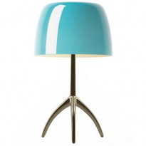 LAMPE A POSER  LUMIERE GRANDE AVEC VARIATEUR, Pied Chrome Noir, Diffuseur Turquoise de FOSCARINI