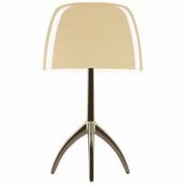 LAMPE A POSER LUMIERE GRANDE ON/OFF, Pied Chrome Noir, Diffuseur Blanc chaud de FOSCARINI