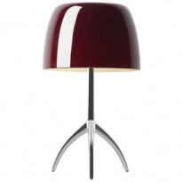LAMPE A POSER LUMIERE GRANDE ON/OFF, Pied Chrome Noir, Diffuseur Cerise de FOSCARINI