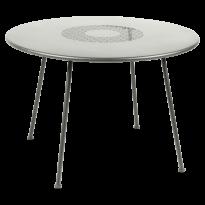 TABLE RONDE LORETTE Ø.110 cm, Gris métal de FERMOB