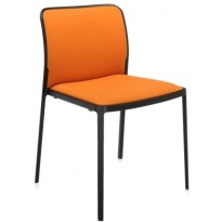 CHAISE AUDREY SOFT DE KARTELL, ORANGE, STRUCTURE NOIRE
