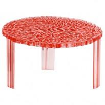 TABLE BASSE T-TABLE, 28 cm, Rouge transparent de KARTELL