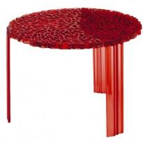 TABLE BASSE T-TABLE, 36 cm, Rouge transparent de KARTELL
