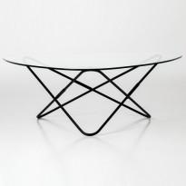 TABLE AO, Socle thermolaqué noir, Transparent de AIRBORNE